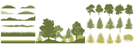 Spring season, constructor kit of trees, grass, hill. Beautiful silhouettes of spruce and pine and coniferous trees and birch, etc. Set of design elements. Vector illustration. Ilustração