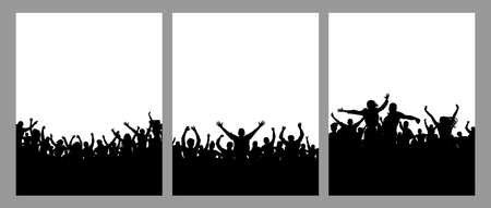 Set of crowds of people, vertical posters. Music or sport fans, cheerful people. Vector illustration. Ilustração