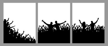 Silhouette of cheerful crowd people, vertical posters, set. Fun people on party or holiday or concert, sport fans. Vector illustration Stockfoto - 166158188
