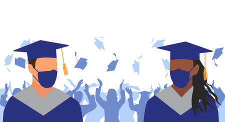 Graduation ceremony in condition of pandemic disease. Graduates in medical face mask and mantle and mortarboard on background of crowd of graduates throwing square academic caps. Vector illustration.