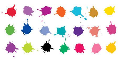 Color ink blots, colorful paint, set of design elements. Vector illustration Stockfoto - 166499933