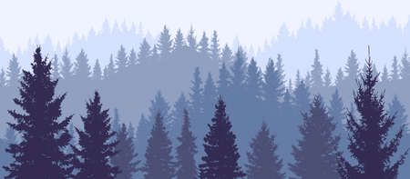 Silhouette of forest, wallpaper of nature. Beautiful landscape, fir trees. Vector illustration Vectores