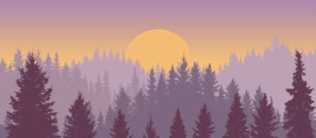 Sunrise and silhouette forest hills, beautiful landscape. Vector illustration