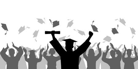 Graduation ceremony. Cheerful Graduate in mantle and mortarboard with diploma on background of crowd people throwing square academic cap. Vector illustration Ilustração