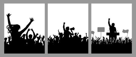 Meeting of crowd people, black silhouette. Speaker and protest and demonstration, set of vertical poster. Vector illustration
