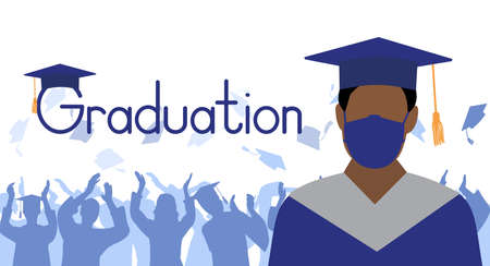Graduate boy in medical face mask and mantle and mortarboard on background of group of graduates throwing square academic caps. Graduation ceremony in condition of pandemic disease.Vector illustration 矢量图像