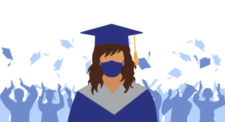 Graduate in medical face mask and mantle and mortarboard on background of crowd of graduates throwing square academic caps. Graduation ceremony in condition of pandemic disease. Vector illustration.