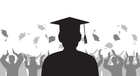 Silhouette graduate on background of cheerful group people throwing mortarboard. Graduation ceremony. Vector illustration.