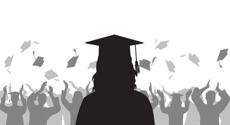 Silhouette graduate girl on background of cheerful group people throwing mortarboard. Graduation ceremony. Vector illustration.