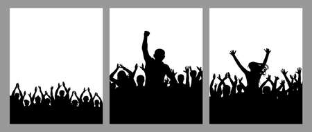 Silhouette of crowd people, set of vertical poster. Applauding people, cheering crowd, leader. Vector illustration