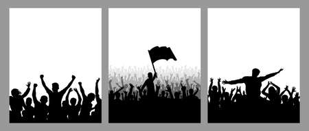 Set of vertical posters. Silhouettes of cheerful crowd people, leader with flag, fans. Vector illustration.