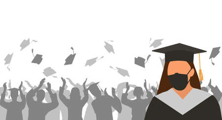 Graduate girl in medical protective mask and black graduation clothing on background of cheerful group of people throwing mortar boards. Vector illustration.
