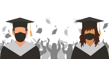 Graduates boy and girl in medical protective mask observant social distance on background of cheerful group of people throwing mortarboards. Vector illustration. 矢量图像