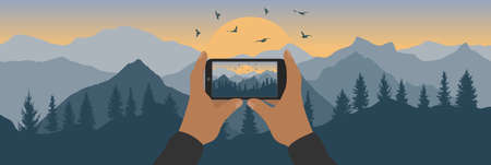 Human hand holding phone and taking photo of silhouette of sunrise in mountains with forest and flying birds. Vector illustration Ilustração