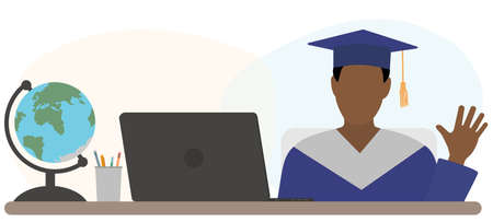 Graduate boy is sitting at desk in front of laptop and welcome graduates. Virtual online graduation. Vector illustration. 矢量图像