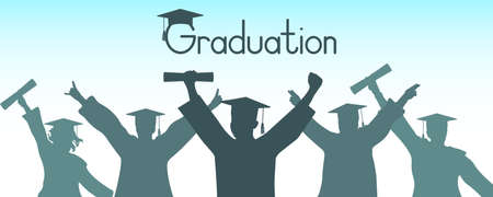 Cheerful graduates in graduation clothing, silhouette.