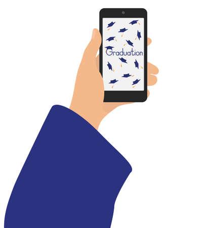 Virtual graduation. Hand of graduate holding phone.