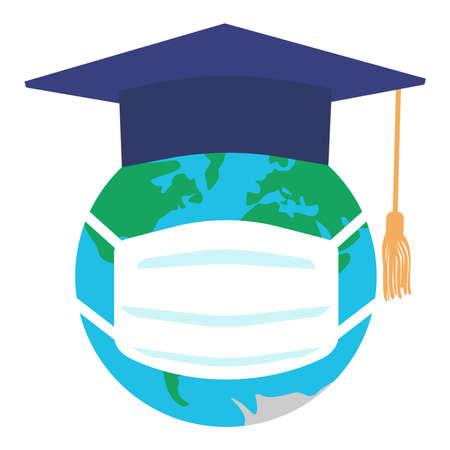 Graduating square cap or mortar board and planet earth in medical mask. Graduation in pandemic disease. Vector illustration.
