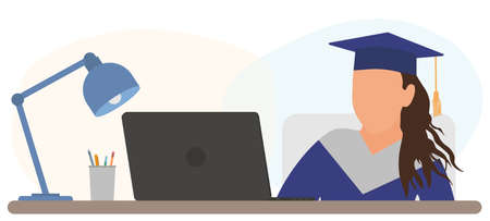Virtual graduation. Graduate girl is sitting at desk in front of laptop and attending at online graduation.