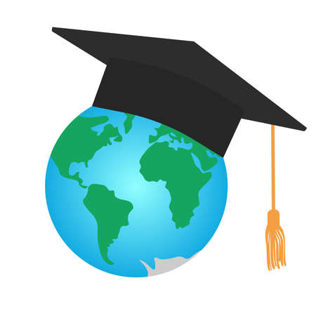 Graduating square cap or mortar board and planet earth. International graduation. Vector illustration.