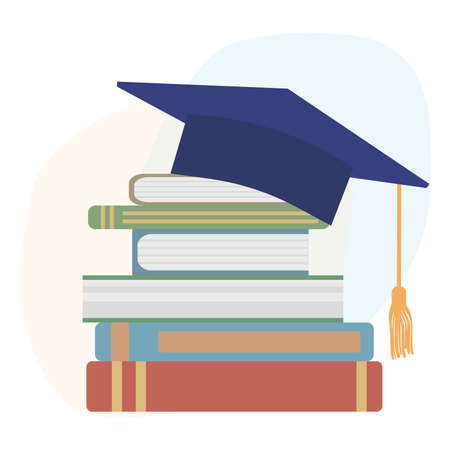 Graduation mortarboard or square cap and books. Vector illustration