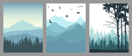 Silhouette of coniferous forest, mountains and flying birds. Set of vertical posters. Beautiful landscape, nature. Vector illustration Ilustração