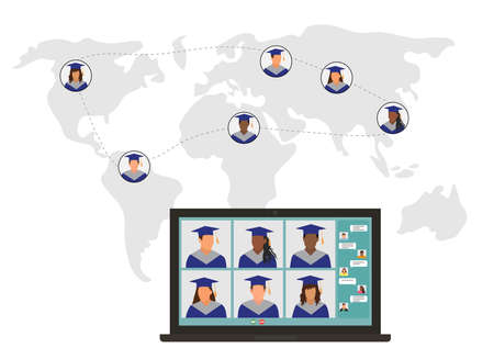 Virtual graduation. Online meeting graduates in graduating clothing in world.