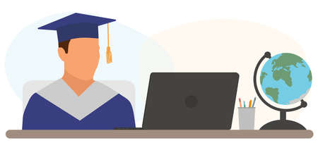 Virtual online graduation. Graduate boy is sitting at desk in front of laptop at home in graduation ceremony. Vector illustration. Vectores