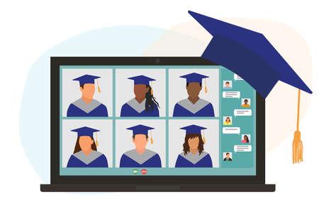 Virtual graduation ceremony. Graduates in graduating clothing communicate via video call.