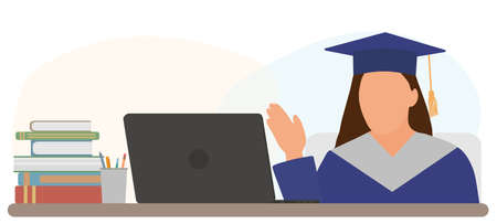Virtual event graduation. Graduate girl is sitting at desk in front of laptop and greet others at online graduation ceremony. Vector illustration. Ilustração