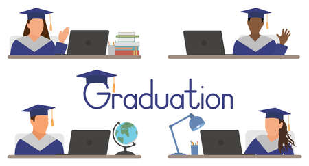 Virtual graduation ceremony. Stock Illustratie