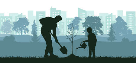 Landscaping of territory, man and child planting tree in city park, silhouette.