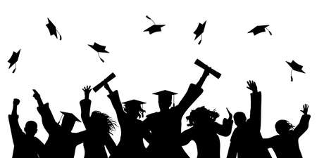 Happy graduate students with graduating caps and diploma or certificates, silhouette of group of people. Vector Illustratie