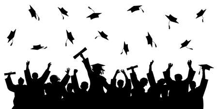 Cheerful graduate students with diploma, throwing academic caps, silhouette. Stock Illustratie