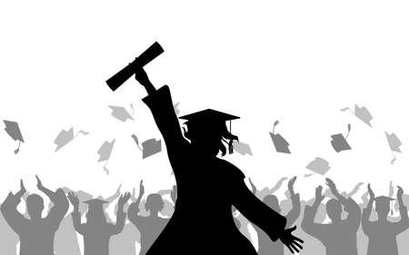 Cheerful girl graduates with diploma