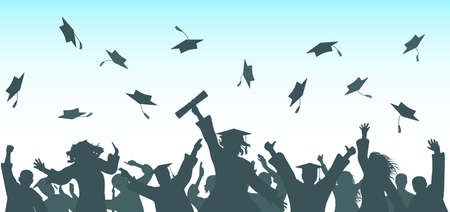 Graduation. Cheerful graduate students throwing academic caps, silhouette.