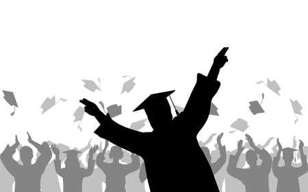 Cheerful boy graduates Stock Illustratie