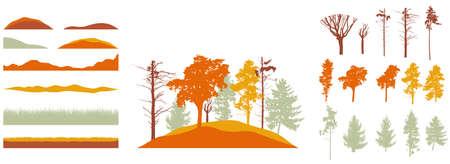 Creation of autumn beautiful park Stock Illustratie