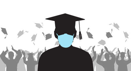 Silhouette of graduate in medical protective mask Stock Illustratie