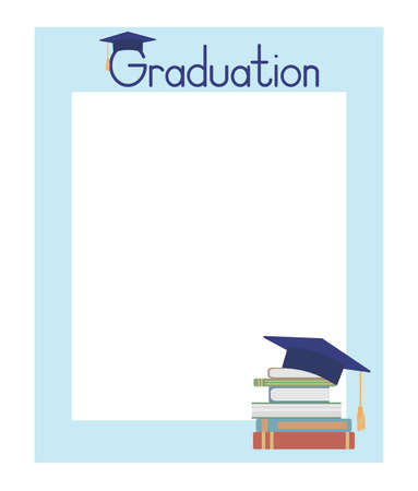 Frame template for graduation photo booth props or text. Books and academic cap. Vector illustration