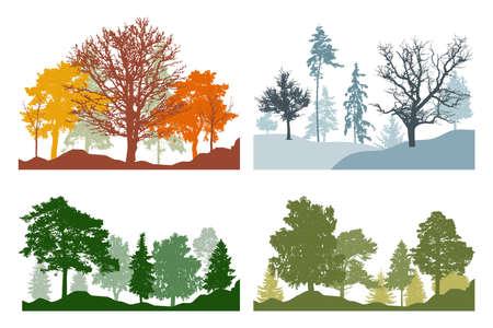 Silhouette of summer, autumn, winter, spring woodland, landscape. Four season. Vector illustration