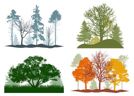Four seasons, silhouette of summer, autumn, winter, spring woodland, landscape. Vector illustration