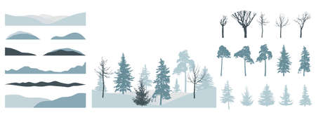 Design element of trees, set. Silhouette of bare tree, pine, spruce. Creation of beautiful winter landscape, woodland, park or forest. Vector illustration.