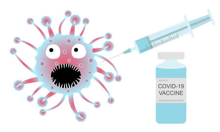 Covid-19 fight, vaccination. Syringe and vaccine. Vector illustration