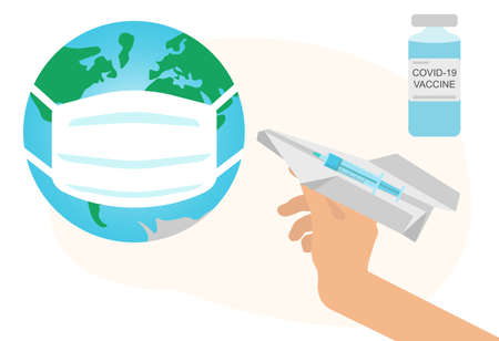 Covid-19 vaccination, female hand launches paper airplane with syringe with vaccine of coronavirus into planet in medical mask. Vector illustration