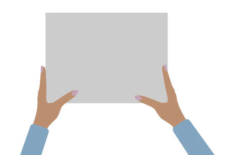 Two female hands holding empty banner, copy space for text. Vector illustration Stock Illustratie