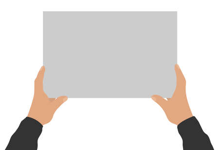 Two male hands holding empty banner, copy space for text. Vector illustration Stock Illustratie