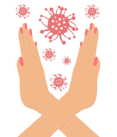 Stop sign COVID-19, hands of woman and coronavirus. Vector illustration