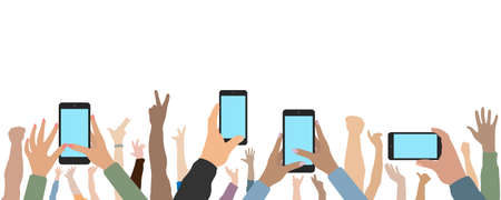 Raised up human hands and hands of people with phones. Cheerful crowd of people at concert or party, fans. Vector illustration