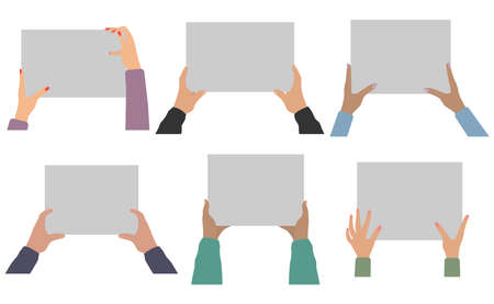 Human hands holding blank paper, isolated set. Vector illustration